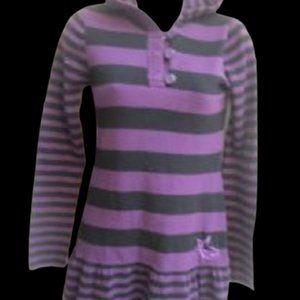 Purple Hooded Dress Girl Size 12  (small flaw)
